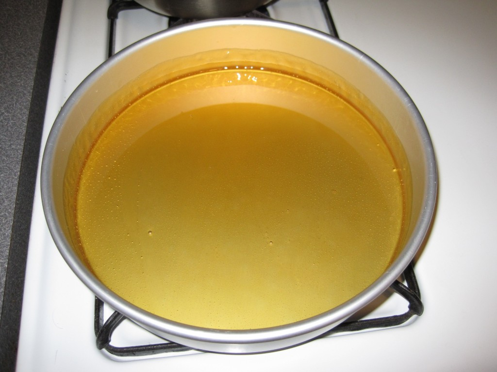 The caramel covering the inside of the pan.